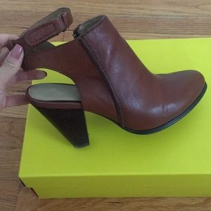 Leather open heel ankle strap booties
